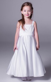 Strapped Sleeveless A-Line Flower Girl Dress