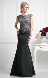 Trumpet Jeweled Sequined Bateau Cap-Sleeve Zipper Satin Dress