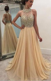 Long Rhinestoned Sleeveless High-Neckline Chiffon Gown