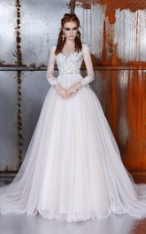 Ball-Gown Long-Sleeve Princess A-Line Wedding Bell Dress