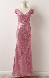 Floor-Length Low-V Back Short-Sleeve V-Neckline Dress