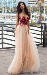 Ethereal Sleeveless A Line Lace Tulle Strapless Prom Dress with Appliques