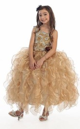 Tiered Strapped Floor-Length Floral Organza Flower Girl Dress