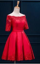 Short Appliqued Half-Sleeve Bateau-Neckline A-Line Dress