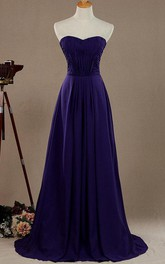 Sweetheart A-line Chiffon Criss-cross ruched Bridesmaid Dress With Zipper