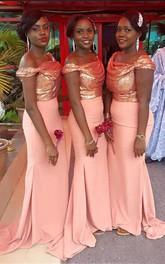 Trumpet Maxi Off-the-shoulder Sleeveless Beading Chiffon Sequins Dress