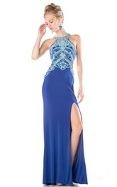 Column Split Front Beaded Full-Length Jewel-Neck Illusion Jersey Dress