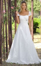 Cap-sleeve A-line Lace Wedding Dress With Ruching And Broach