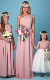 One-shoulder Sleeveless Chiffon Bridesmaid Dress