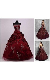 Tea-Length Tulle Off-The-Shoulder One-Shoulder Embroidery Jeweled Chiffon Ball Gown