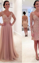 V-neck Satin Long Sleeve Floor-length Beading Lace Pleats Embroidery Dress