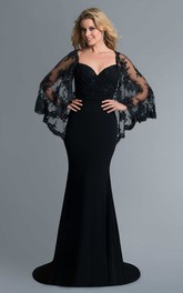 Sheath Caped Jersey Dress With Deep-V Back And Sweep Train