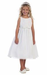Bowknot Satin Ribbon 3-4-Length Strapped Flower Girl Dress