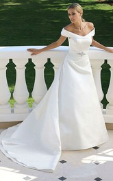 Off-the-shoulder Satin A-line Wedding Dress With Embellished Waist
