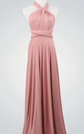 Wrap Bridemaid Nude Pink Infinity Sexy Bridal Evening Nude Pink Bridesmaid Floor Length Dress