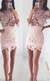 3 4 Length Sleeve Sheath Short Mini High Neck Lace Homecoming Dress