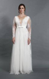 Long-Sleeve Tulle Deep-V-Neckline Sassy Bridal A-Line Dress