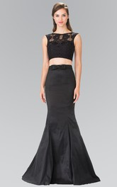 2-Piece Bow Lace Trumpet Floor-Length Sleeveless Jewel-Neck Satin Dress