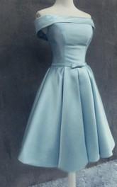 Off-shoulder Short Satin Dress With Bow