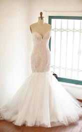 Tulle Rhinestone Satin Sweetheart Trumpet Lace Dress