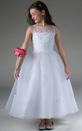 Embroidery Organza Bateau-Neckline Flower Girl Dress