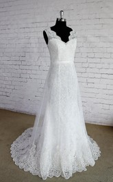 Sleeveless Lace Trim Layered Double Wedding Gown