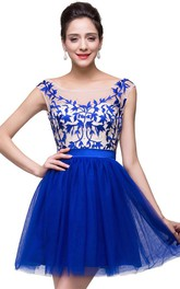 Elegant Royal Blue Sleeveless Short Homecoming Dress With Appliques