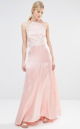 Sheath Long-Sleeveless High Neck Satin Bridesmaid Dress With Lace