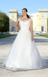 Cap Appliqued Illusion Floor-Length A-Line Sweep-Train Bow Dress
