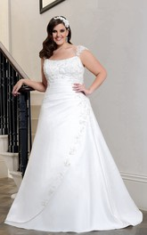 Queen Anne A-line Satin side-ruched Wedding Dress With Applique And Corset Back