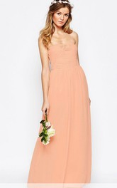 Ankle-Length Sheath Ruched Strapless Chiffon Bridesmaid Dress
