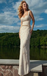 Lace Sheath Strapped Wedding Dress With Appliques And Beading