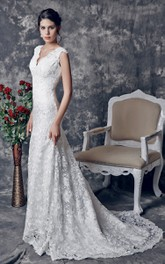 Plunged Sleeveless Sheath Lace Wedding Dress With Low-V Back And Sweep Train