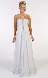 A-Line Beaded Empire Floor-Length Sleeveless Sweetheart Chiffon Prom Dress With Zipper Back And Ruching