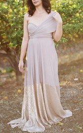 Two-tone Chiffon Sequined A-line Bridesmaid Dress With Pleats