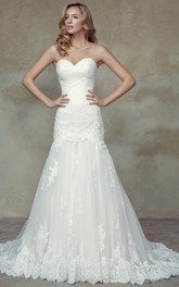 Sweetheart A-line Lace Ruched Wedding Dress With Court Train And Corset Back