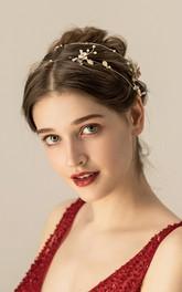 Charming Alloy Crystal Golden Headbands