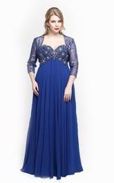 Long-Length-Sleeve Floor-Length A-Line Jewel Dress