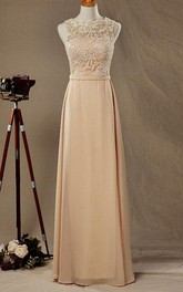 Bateau Sleeveless Floor-length Dress With Lace top And Deep-V Back