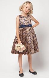 Lace Satin Sash Floral Bowknot Flower Girl Dress