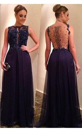 Appliqued A-Line Long Jewels Elegant Dress