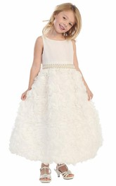 Chiffon Satin Ribbon Jeweled 3-4-Length Flower Girl Dress