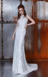 Lace Brush Train Illusion Back Sleeveless Bateau-Neck Gown