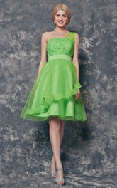 One Shoulder Tiered Short Tulle Dress With Appliques