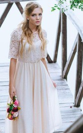 A-Line Lace Bodice Blush Boho Wedding Gown