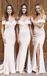 Sexy Elegant Off-the-shoulder Trumpt Bridesmaid Dress With Front Split And Cross Criss