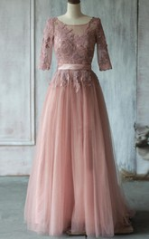 Bateau Half Sleeve A-line Tulle Bridesmaid Dress With Appliques And Corset Back