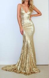 Spaghetti V-neck Sequins Sleeveless Court Train Open Back Formal Dress