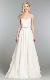 Floor-Length Crystal Bow Belt Spaghetti-Strap Fabulous Dress