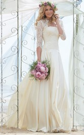 Long Sleeve Lace Floor-length Wedding Dress With bolero